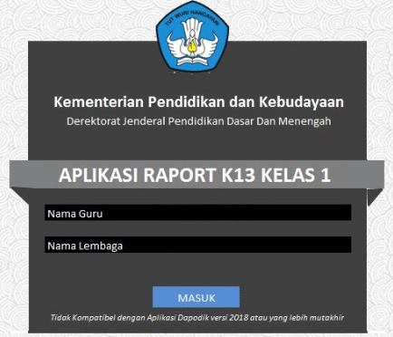 Download Aplikasi Raport K13 SD Terbaru TA 2018/2019
